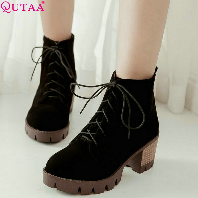 QUTAA Black Flock 2017 Women Shoes Square High Heel Ankle Boots Autumn Lace Up Women Motorcycle Boots Size 34-39<br><br>Aliexpress