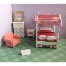 Cute 5pcs/set Wooden DIY Mini Dollhouse Bedroom Furniture Toys Set Miniature Kids Play Toy Gift For Children Dollhouse Decor Toy