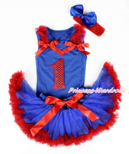 RoyalBlue Pettitop, 1st Sparkle Red Number, Red Ruffle Red Bow RoyalBlue Red Newborn Skirt, Red Band RoyalBlus SilkBow MANG1342