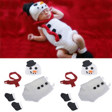 Moeble Crochet BABY Snowman Hat Romper Scarf Set Newborn Snow man Costume Knitted Christmas cosplay Cartoon Outfits Photo Shoot(China)