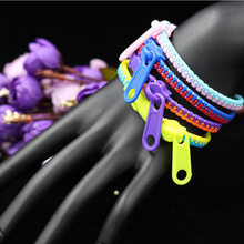 10pcs/lot 2015 Fashion Zip Bracelet bangles Metal Zipper Bracelet Fluorescent Neon Creative Gifts