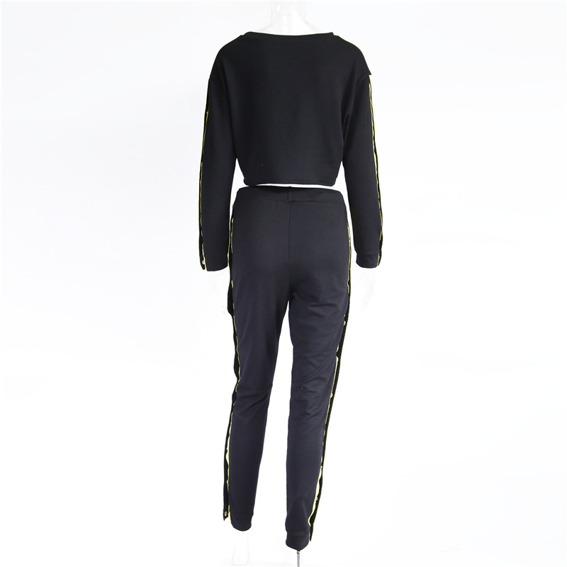 Women's Two Piece Set, Sweater Shirt Hoodie, Black Side Stripe Pants 19