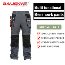 Bauskydd Mens Male Durable workwear multi-pocket  trousers with knee pads for work safety 100% cotton work pants free shipping