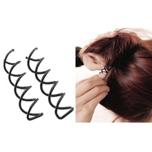 Furling Girl Fashion New 2 Pieces Black Metal Spiral Hair pin Clip Pick Barrette Bridal Wedding Accessories with Protection Tips