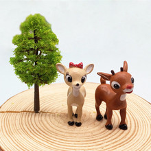 Cute Deer Lovers Miniature Animal Home Garden Bonsai Decoration Mini Toy Craft Ornaments Micro Decor DIY Gift Drop Shipping(China)