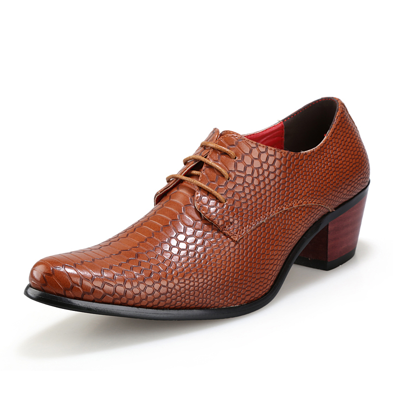 height increasing snake skin men shoes luxury brand italian formal leather male footwear pointed toe brogue oxford shoes for men (1)