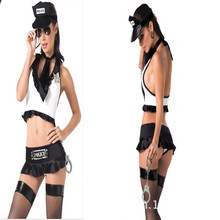 White Top Grade New Adult Women Sexy Cop Uniform Black Police Costumes Outfit Fancy Cosplay For Valentine Free Shipping(China)