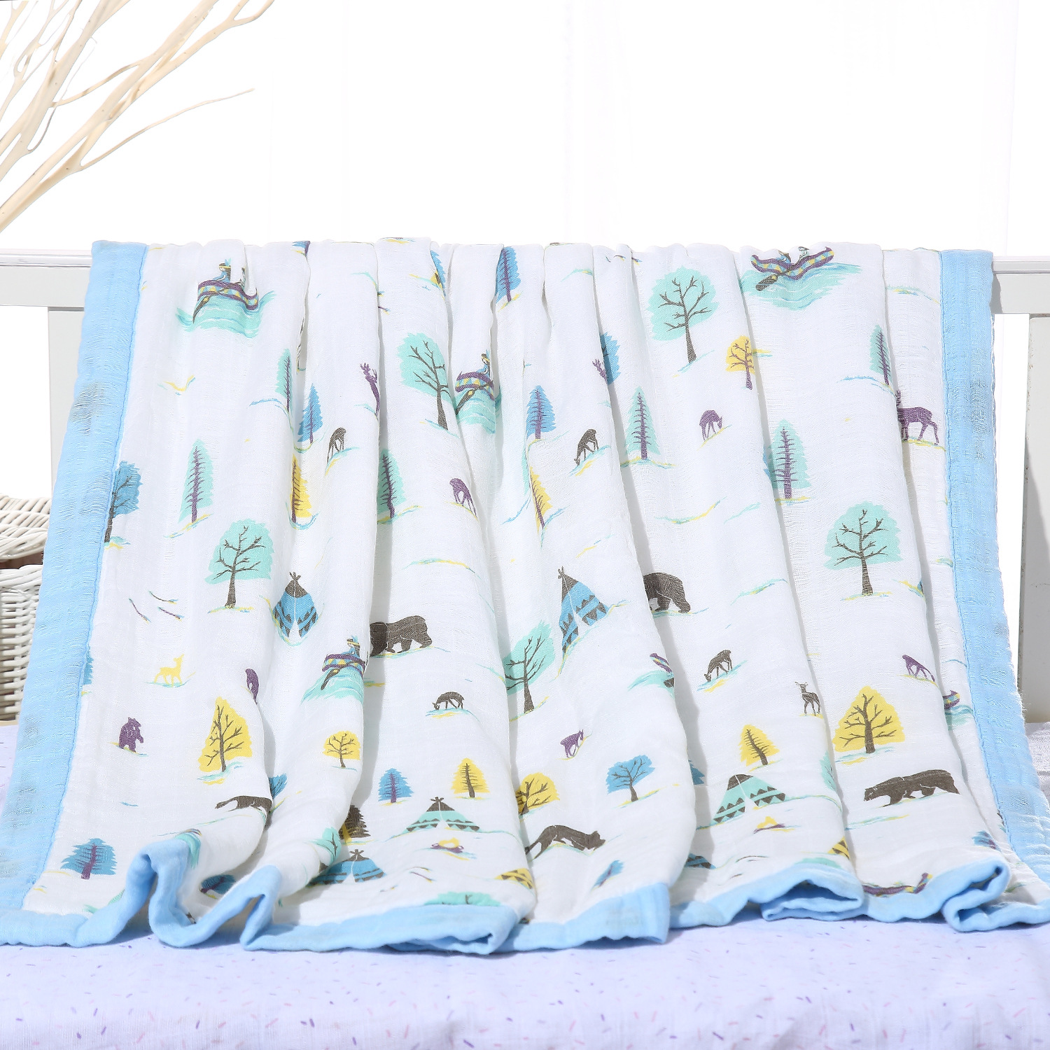Cotton Newborn Blanket Swaddle Sleeping Bag Baby Swaddle blanket  Animals Covered 8layer Muslin Gauze Infant Muslin Washcloths<br>