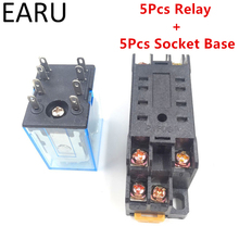 5Pcs MY2P HH52P MY2NJ Relay Coil General DPDT Micro Mini Electromagnetic Relay Swtich with Socket Base AC 110V 220V DC 12V 24V