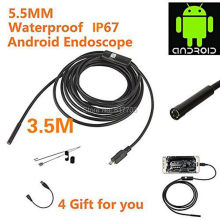 3.5m Waterproof Endoscope Mini HD Camera Snake Tube 5.5 mm Lens Rigid Cable USB Inspection LED Borescopefor Android Phone PC