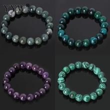 YYW Natural Stone Bracelets 6/8/10mm Round Beaded Amethysts Quartz Malachite Lapis Lazuli Rainbow Rose Stone Wristband Bracelets(China)