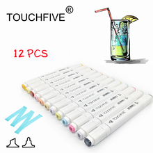 Touchfive 12Pcs Art Marker For animation architecture interior POP Dual Headed Oily Alcoholic Artist copic markers touch