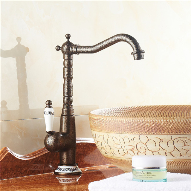 hot sale luxury Bathroom Basin Faucet Antique bronze Brass Mixer Tap with ceramic special torneiras para banheiro<br><br>Aliexpress