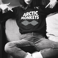2017 Casual Sweatshirt Women Hoody Arctic Monkeys Letter Print Full Sleeve Hoodies Harajuku O-Neck Black Sweatshirts(China)