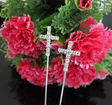 Wholesale 10pcs/lot Cross Rhinestone Diamante Letter Monogram Cake Toppers For Wedding Birthday Decoration