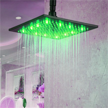 LED Color 10 Inch Overhead Rainfall Shower Head with Wall Mount Shower Arm Oil Rubbed Bronze LD8030-C6(China)