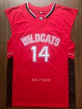 Zac Efron #14 Troy Bolton East High School Wildcats Stitched Basketball Jersey Red(China)