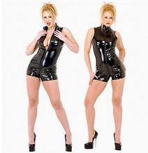 Buy Plus Size S-XXL Clubwear Black Latex Short Bodysuit Vinyl Leather Open Crotch Lingerie Fetish Bondage Dress PVC Catsuit
