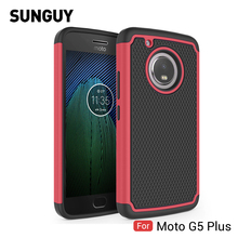 For Lenovo Motorola Moto G5 plus Case, SUNGUY Football pattern Hard PC+Soft TPU Silicone Armor Anti-knock Cover case for G5Plus(China)