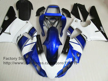 Custom free injection motorcycle fairings kit for 1998 1999 YAMAHA YZF R1 98 99 YZFR1 YZF1000 white blue factory fairing kits(China)