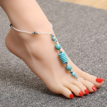 2017 New cheap anklets Womens anklet Beach Blue beaded barefoot sandals Foot Jewelry ankle bracelet Chain