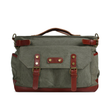 ROCKCOW Canvas Leather Travel Bag, Waxed Canvas Laptop Bag Duffle Briefcase 1859