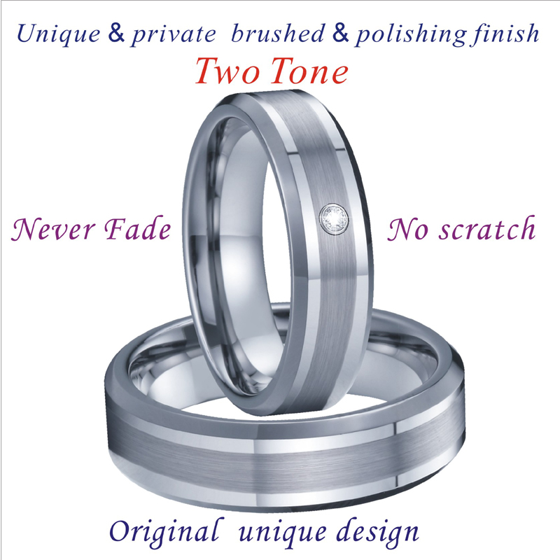 Handmade Tungsten Rings Silver Color Wedding Band Men's Rings Women's Ring For couples lovers  Alliance never fade (5)
