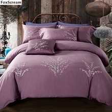 100% Cotton luxury duvet cover king size bedding set queen size flower duvets blue floral bedding sets embroidered quilts