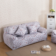 Plum Blossom Printed Sofa Cover Spandex Stretch Couch Cover Elastic Corner Sofa Furniture Protector Slipcover For 1/2/3/4 Seater(China)
