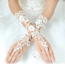 2016 Cheap Free Size off White Fingerless Rhinestone Lace Bridal Wedding Gloves Free Shipping Wedding Accessories Made in China(China)