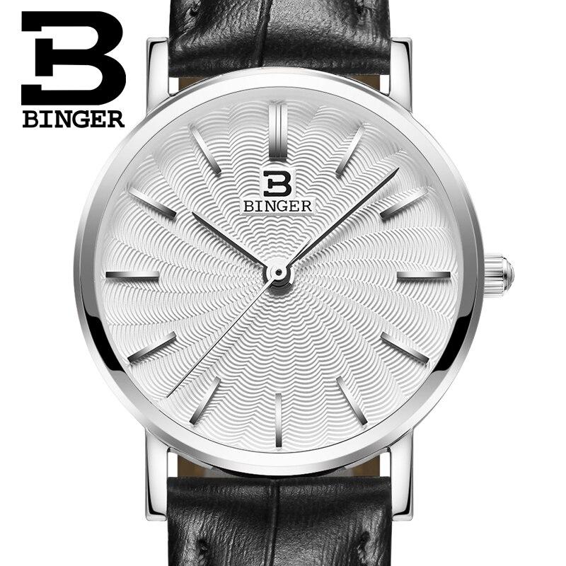 Switzerland BINGER women watches luxury brand quartz  genuine leather strap ultrathin Wristwatches Waterproof B3051W-4<br>