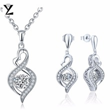 YL Infinity Love 925 Sterling Silver Fine Jewelry Topaz Natural Stone for Women Wedding Gift Necklaces and Earring Jewelry Set(China)