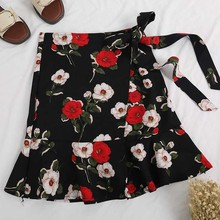 Summer New Design Big Flower Printing Fishtail Skirt Women Vintage Lace Up A-Line Irregularity Skirts Bandage Ruffle Mini Skirt