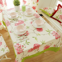 Japan Zakka Pastoral Plaid Foral Printed Cotton Square Customize Cute Table Cloth Rectangular Table Cover Simple Tablecloths