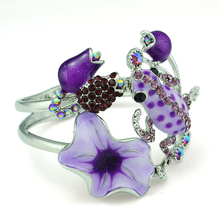National Style Lady Silver Plated Bangle Bracelet Rhinestone Flower Fashion Enamel Glaze Frog Cuff Bracelets For Women Jewelry(China)