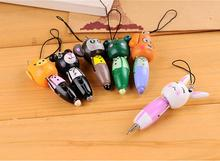 1 Piece Wooden Cute Cartoon Animals Short Pens Mobile Phone Pendant Wood Ballpoint Pen