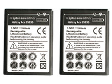 2pcs/lot 1500mAh EB494358VU Replacement Battery For Samsung Galaxy Ace S5830 S5660 S5670 S7510 i619 S5830i i569 S5838 S7250D