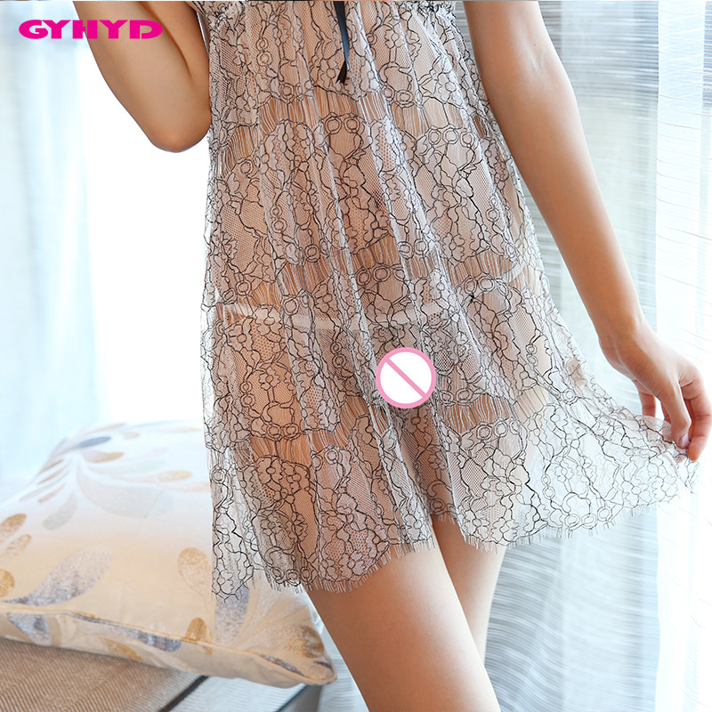 GYHYD Brand New Lady Sexy Sleepshirt Gauzy Halter Neck Sexy Nightgowns Lingerie WYTS960