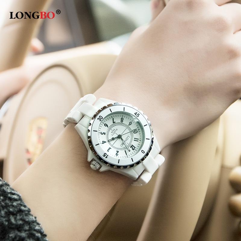 LONGBO Brand Fashion Watches Women Rose Gold Bezel White Ceramic Analog Waterproof Quartz Watch with Date Ladies reloj mujer <br><br>Aliexpress