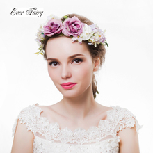 Rose Flower Headband rattan flower crown for bridesmaid Garland Floral Crown Handmade bride flower crown headband Accessories(China)