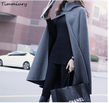 Timmiury Winter Women New Fashion Scarves Solid Gray Long Poncho With Hoodie Wool Scarf