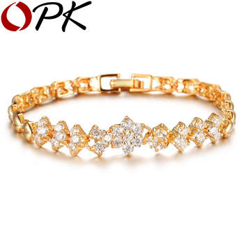 OPK New Fashion Gold Plated Bracelets For Women Luxury White Stones Zirconia Wedding Jewelry Bangle Wholesale Accessories 429