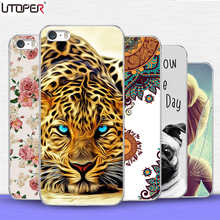Back Case For iPhone 4s case Transparent Silicone Cover Flower lion cat dog Case For iPhone 4G Soft Plastic TPU telePhone Cases