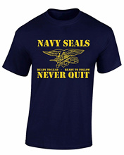 GILDAN Hot Selling 100 % Cotton Tee Shirts Navy Seals Never Quit Usa Military Mens T-shirt
