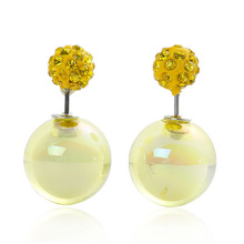 Doreen Box Acrylic Double Sided Ear Post Stud Earrings Ball AB Color Yellow Rhinestone 8mm Dia. 16mm Dia.,1 Pair