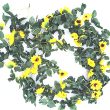 Artificial SunFlower Vine Decorations Wedding Home Supermarket Store Decorative Arrangement Fake Flower Fleurs artificielles(China)