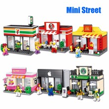 Hot sale City Series Mini Street Model Store Shop with Apple Store McDonald`s Building Block Toys Compatible with Lepin Hsanhe