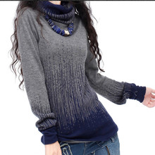Women's Gradient Black Blue Vintage Knitted Cashmere Sweater Women Winter Turtleneck Thick Sweaters And Pullovers Female Tops(China)