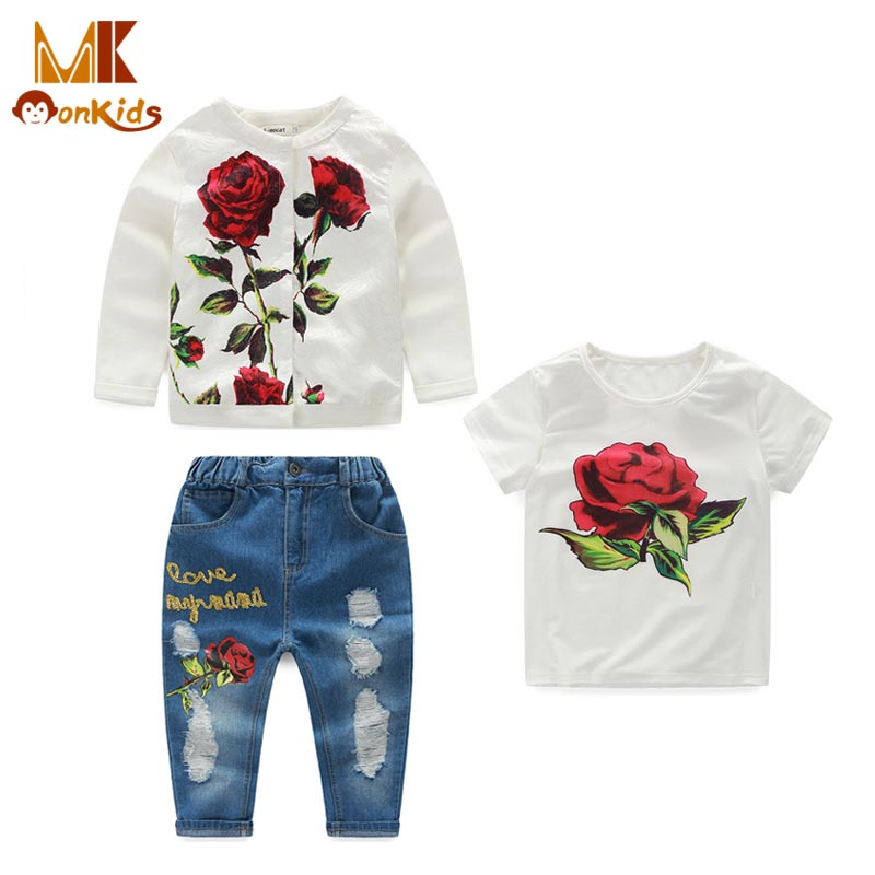 Monkids Children Clothing Sets Kids Clothes Girls Clothing Sets Rose Print T-shirt+Coat+Holes Girls Jeans Outfit Fashion<br><br>Aliexpress