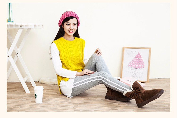 Women Snow Boots 2016 Warm Solid Plus Velvet  Flat Women Boots Winter Bowtie Casual Shoes Round Toe Wild Ladies Shoes SNF905 (3)